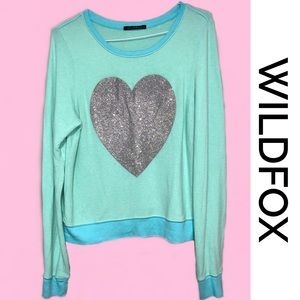 WILDFOX Glitter Heart Aqua Sweatshirt Small